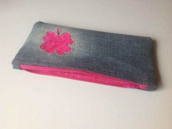 Pencil case / Recycle / Jeans / Four leaf clover