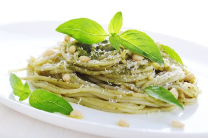 Lidia Bastianich's Spaghetti and Pesto Trapanese - this recipe is OUT OF SIGHT.. tastes amazing and easy.