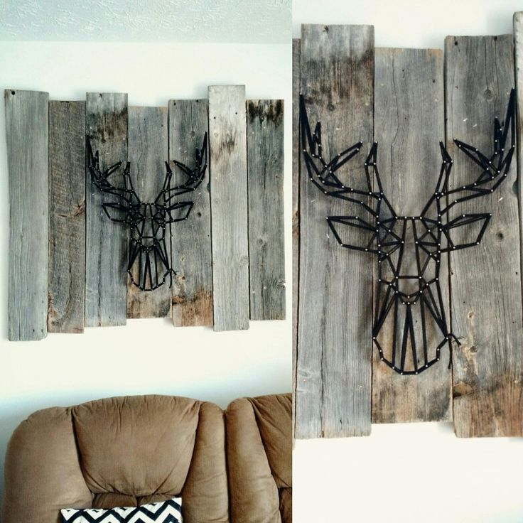 Deer string art over couch, on old barn wood