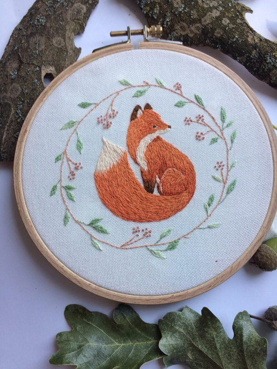 Hand Embroidery, Red fox, Home Wall Decor, Woodland Animals, Beauty, Life, Magic Hoop Art, Embroidery Hoop Art   – Products