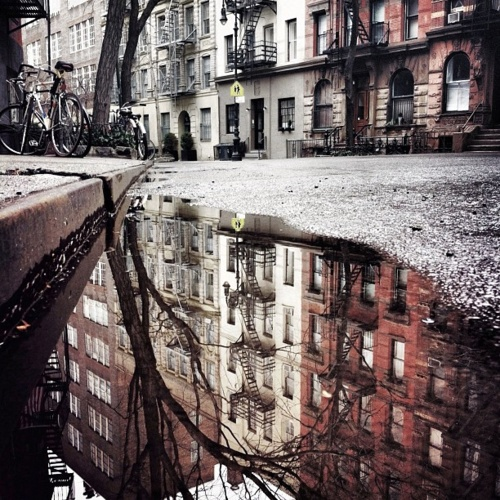 To pretty puddles in West Village...