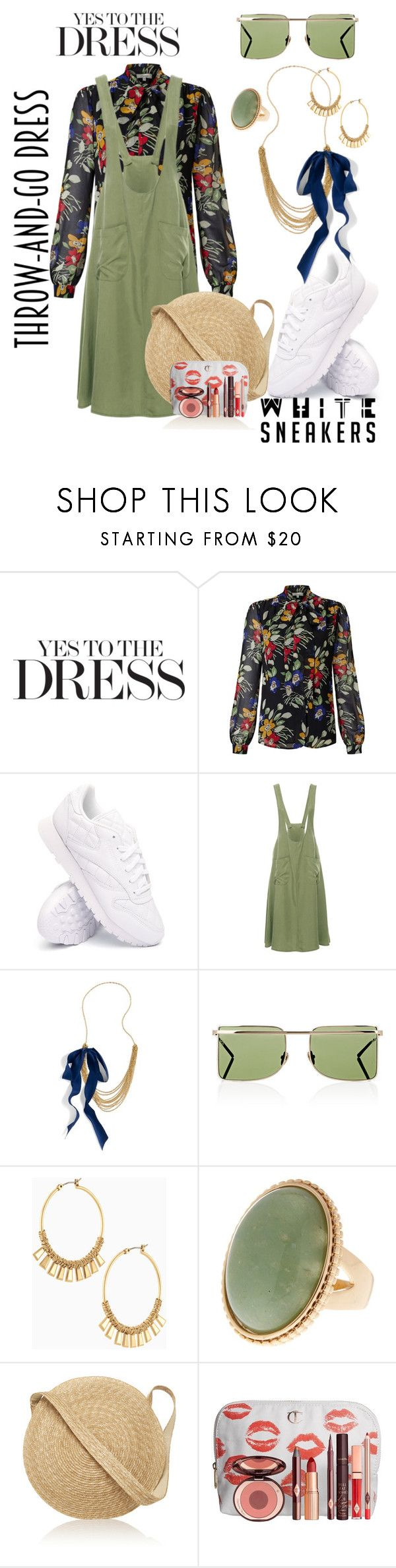 """In the Mix of Style"" by daincyng ❤ liked on Polyvore featuring Somerset by Alice Temperley, Reebok, J.Crew, Calvin Klein 205W39NYC, Stella & Dot, Samuji, Charlotte Tilbury, whitesneakers and easydresses"