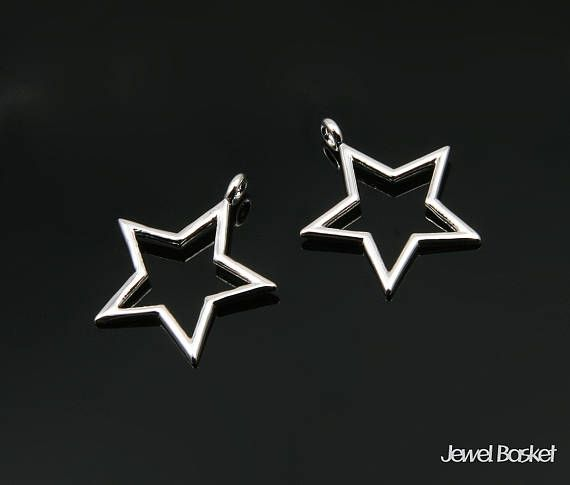 Star Pendant Outline in Rhodium  2pieces of Star Outline /