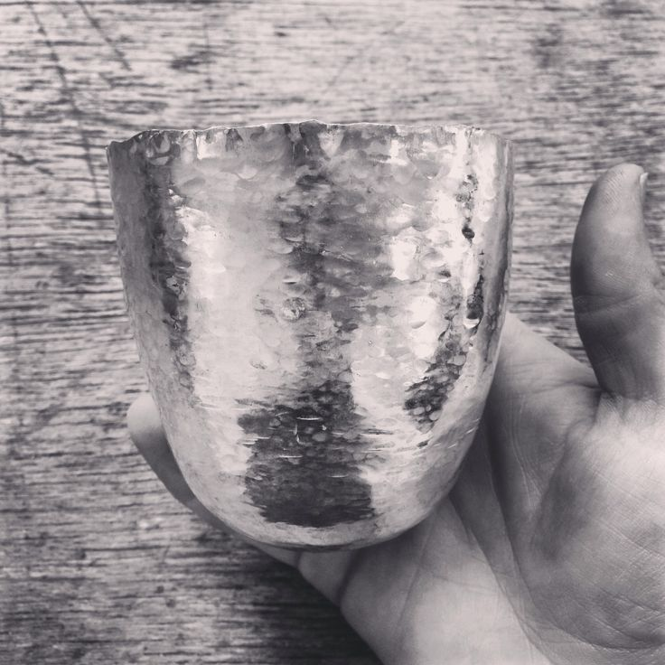 In the making, silver vessel hand raised by Rachel Jones www.rachel-jones.com
