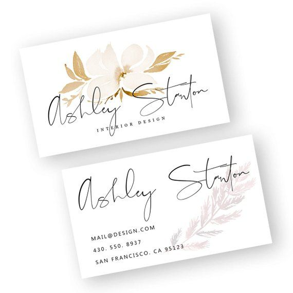 Interior Designer Business Card Watercolor Business Card Watercolor Business Card Template Busin