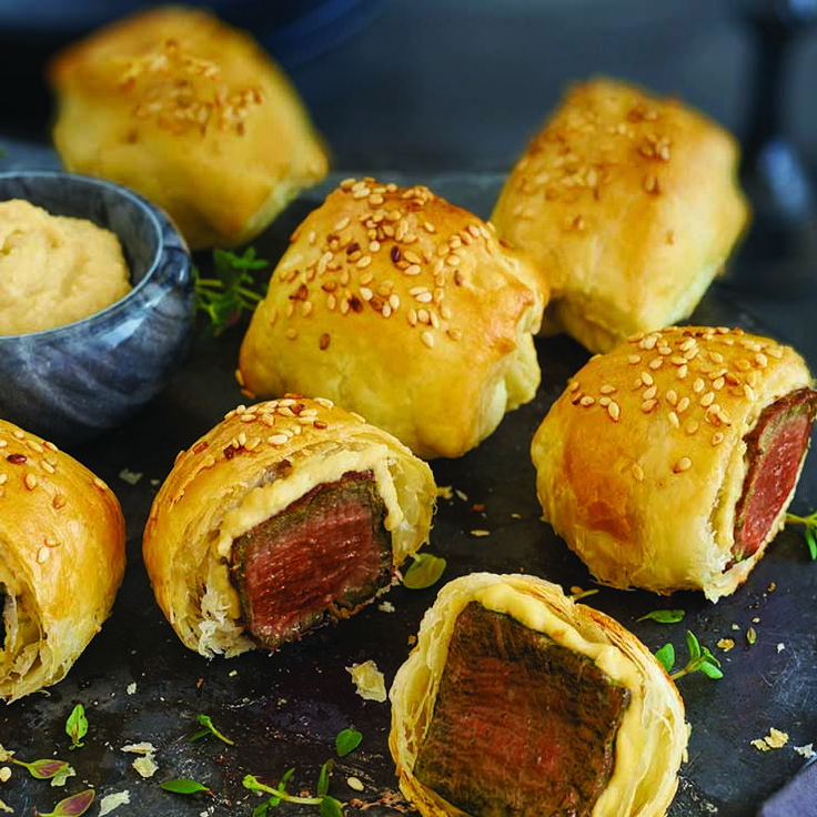 Mini Beef Wellingtons with hummus