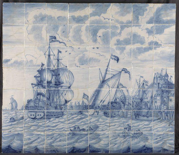 """Tegeltableau met het schip """"Den Briel"""" van Willem III met het admiraalsjacht voor het Oude Hoofd te Rotterdam, anoniem, 1690"""