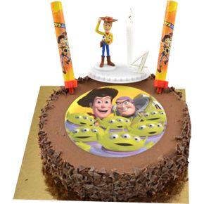 Tarta de chocolate con los personajes y basada en la película de Toy Story