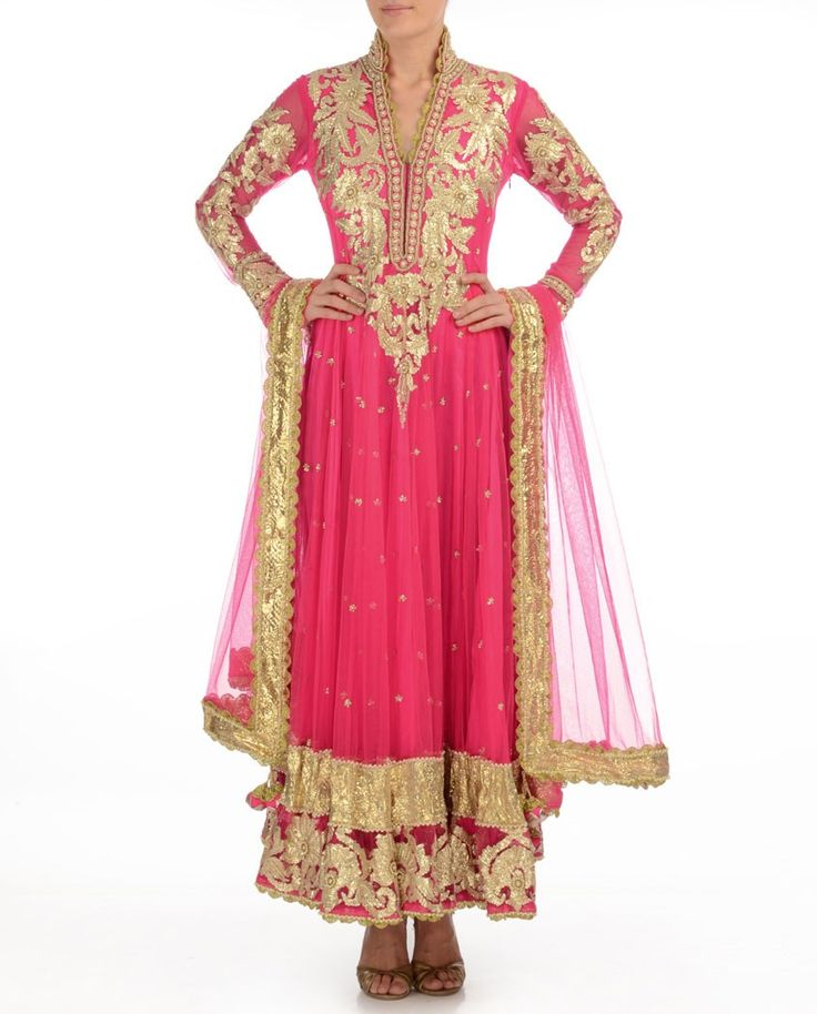 $800 Fuchsia Anarkali Suit with Gota Patti - Buy Suits Online | Exclusively.in