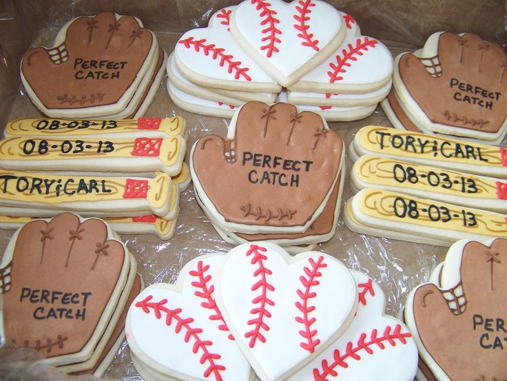 Baseball themed bridal shower cookies
