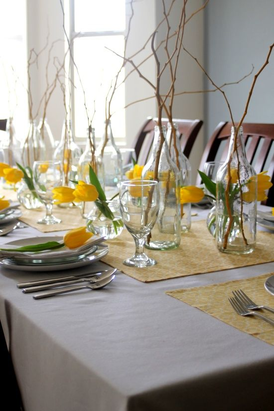 53  amazing ideas of spring table decoration- i never think of using twigs.  they're free and plentiful.
