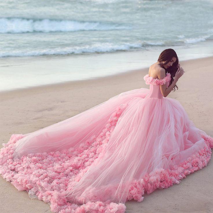 Пухлые-розовые-невесты-платья-принцесса-свадебные-платья-2016-новых-прибыть-романтический-цветок-свадебное-платье-Vestido-Noiva.jpg (800×800)