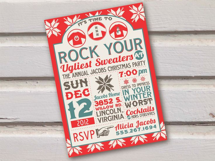 Best Ugly Christmas Sweater Party Images On Pinterest - Party invitation template: ugly sweater party invite template