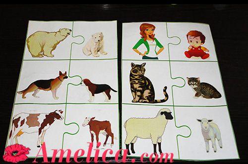 """Карточки для детей с животными, игра про животных """"Где чей малыш"""""""