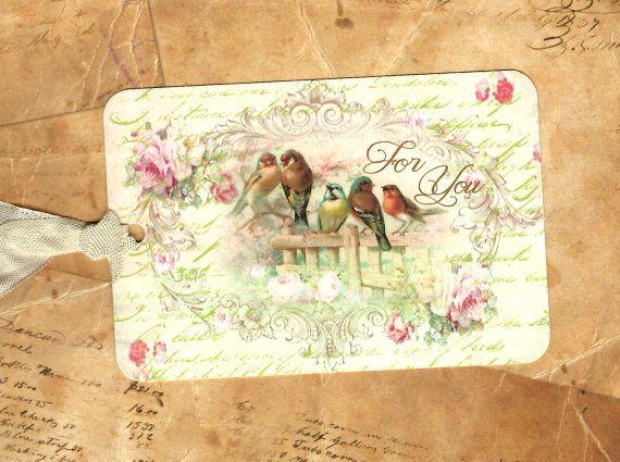 Tags, Gift Tags, Bird & rozen, voor u, verjaardag Tags, vogel liefhebber