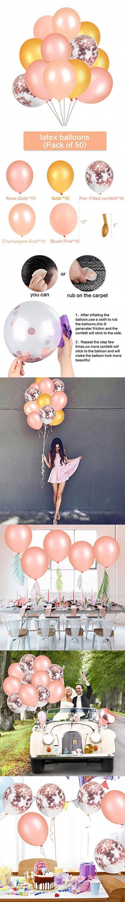 YOUTH UNION 50Pcs Confetti Balloons - 12 Inch Gold & Rose Gold & Champagne Gold Color Latex Party Balloons Great for Wedding Hawaii Graduation Birthda...