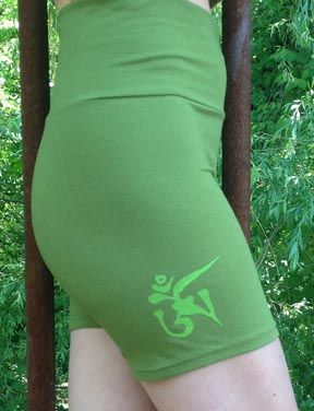 Squeezed Yoga Clothing Yoga Shorts in Fern Green with a Light Green Tibetan OM. Perfect for Summer ! squeezed.ca/...