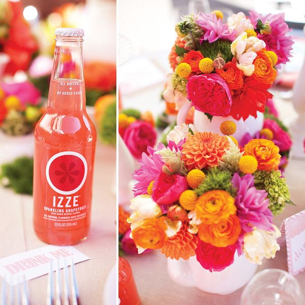 flowers that pop + objects to match= these could be the flowers I use at my 20th anniversary vow renewal...in 7 1/2 years!