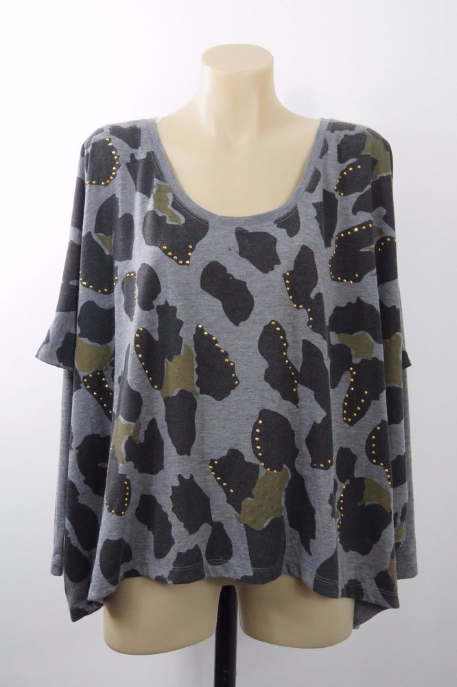 Size M 12 SASS Ladies Grey Crop Top Boho Chic Gypsy Casual Layer Loose Fit Style #Sass #Blouse #Casual