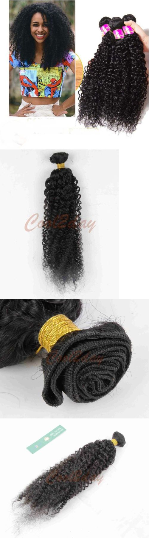 Hair Extensions: 3 Bundles Peruvian Kinky Curly Virgin Hair 100% Human Hair Extensions 150G All BUY IT NOW ONLY: $54.99