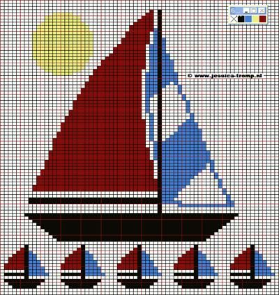 Sailboat in the Sin Fair Isle pattern