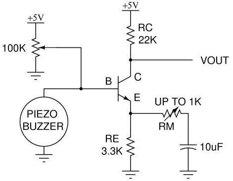 example of simple amplifier circuit for piezo sensor