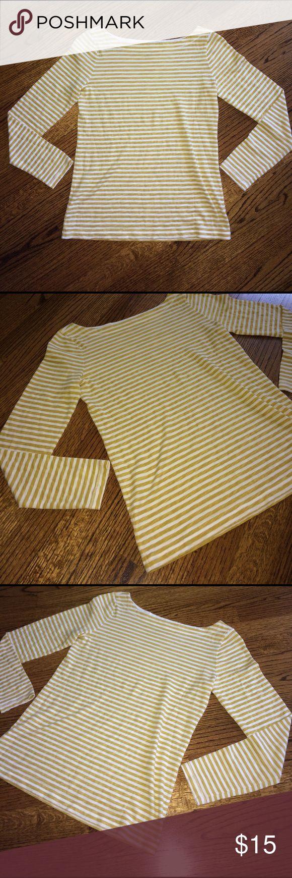 "NWOT mustard and cream tee NWOT mustard and cream. Sleeves 19.5"" shoulder to bottom of tee 24"" LOFT Tops Tees - Long Sleeve"