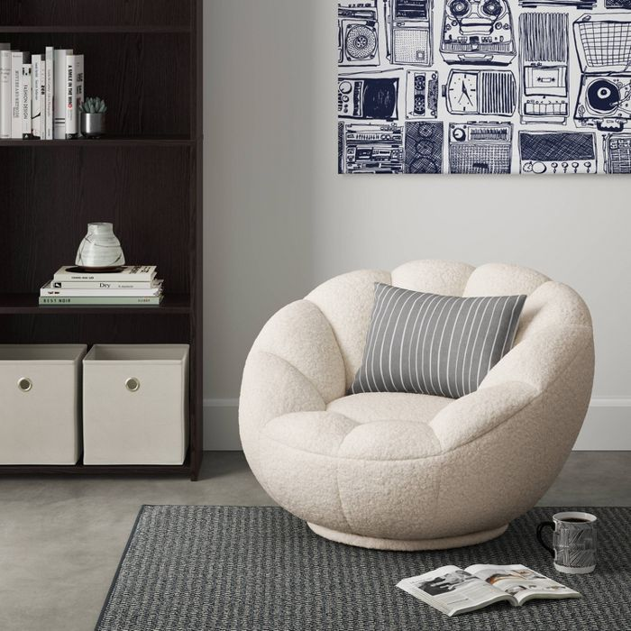 Low Profile Swivel Tulip Chair White Sherpa Room Essentials In 2020 Comfy Living Room Tulip Chair White Swivel Chairs