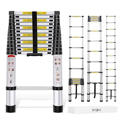 Yesker 12 5ft Telescoping Ladder Aluminum Telescopic Extension Multi Purpose Ladders Multi Purpose Ladder Telescopic Ladder Aluminium Ladder