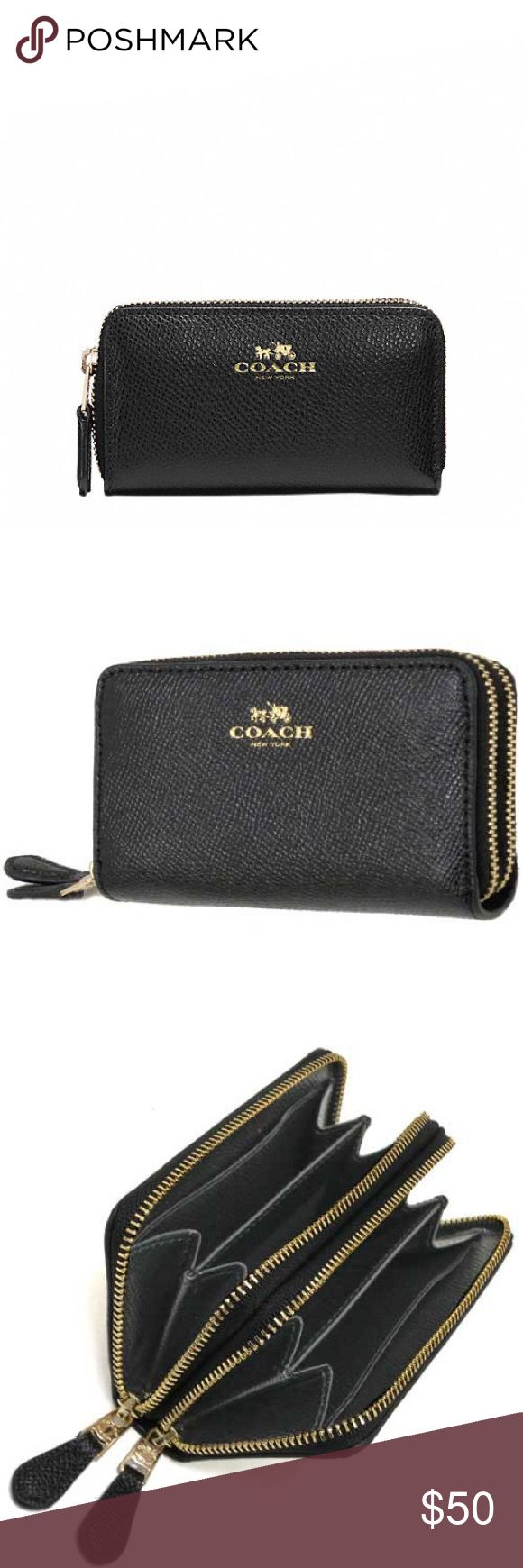 "SMALL DOUBLE ZIP COIN CASE IN CROSSGRAIN LEATHER SMALL DOUBLE ZIP COIN CASE IN CROSSGRAIN LEATHER STYLE NO. F57855  DETAILS Crossgrain leather Credit card pockets Zip closure, fabric lining Zip coin pocket 4 1/2"" (L) x 2 1/2"" (H) COLOR: IMITATION GOLD/BLACK Coach Bags Wallets"
