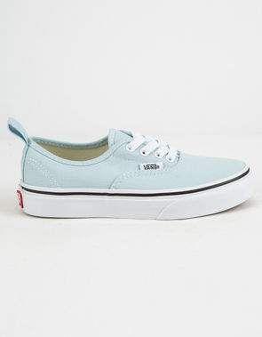 b2cfd38e61ae VANS Authentic Elastic Lace Blue Flower   True White Girls Shoes ...