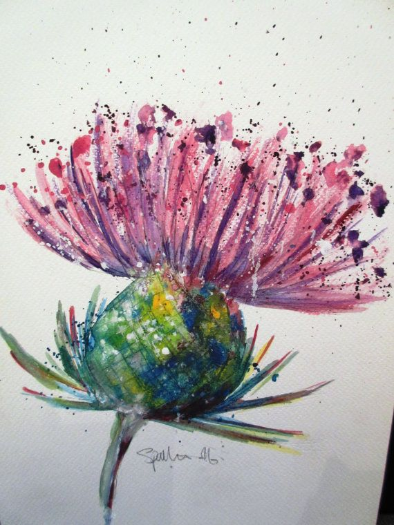 Scottish Thistle. An original watercolour by LittleMrsArtist