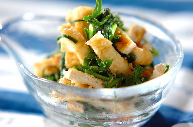 油揚げをカリカリに焼くのがポイント。ニンニクの香りが食欲をそそります。ニラと油揚げのナムル[エスニック料理/前菜]2010.06.28公開のレシピです。
