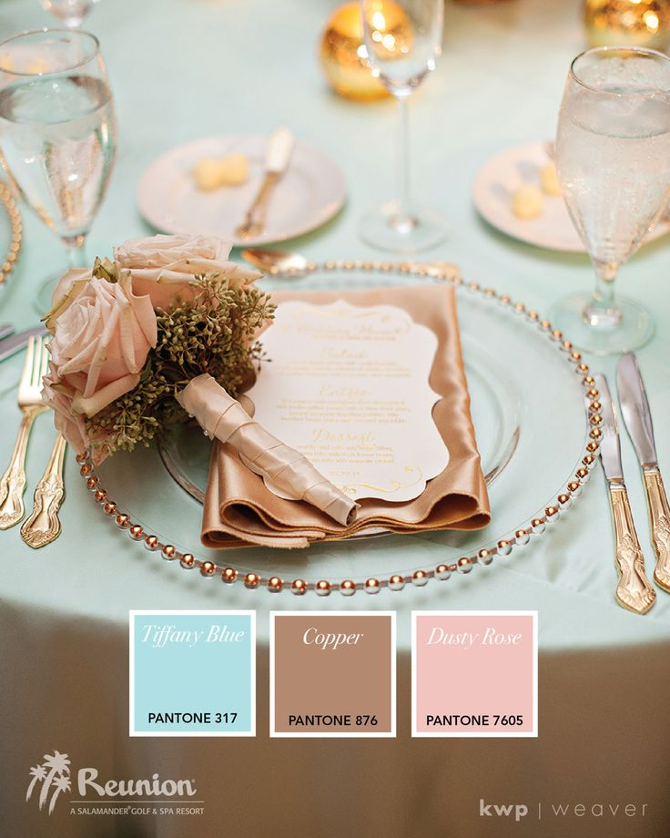 Elegant wedding colors of copper and light blue with a touch of pale pink