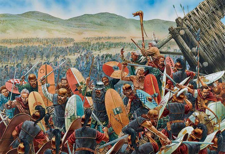 "-0052 Toma de Alesia la capital de Vercingétorix. The final gaulish assault on the siege lines"", Peter Dennis-Warband horde"