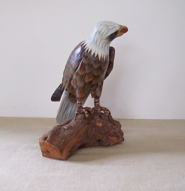 Primping your home american bald eagle carved and painted for Eagle decorations home