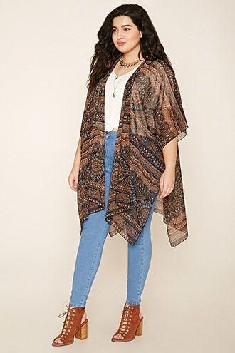 Plus Size Ornate Print Kimono