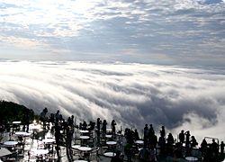 Unkai Terrace(Tomamu, Hokkai-do) The unkai is sea of clouds. 星野リゾートトマム雲海テラス@北海道