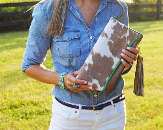 Animal print clutch, pony print foldover, cow print clutch, cowhide bag, neutral purse, Wallet, everyday casual bag, western handbag