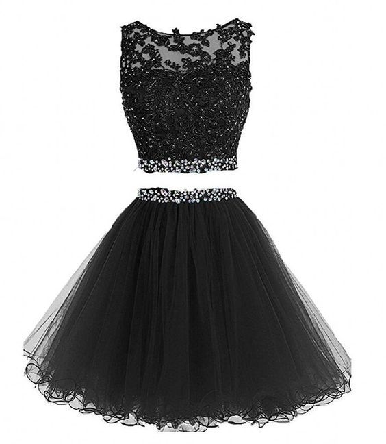 Black Two Piece Knee Length Cute Homecoming Dresses, Homecoming Dresses 2017, Short Prom Dresses 2