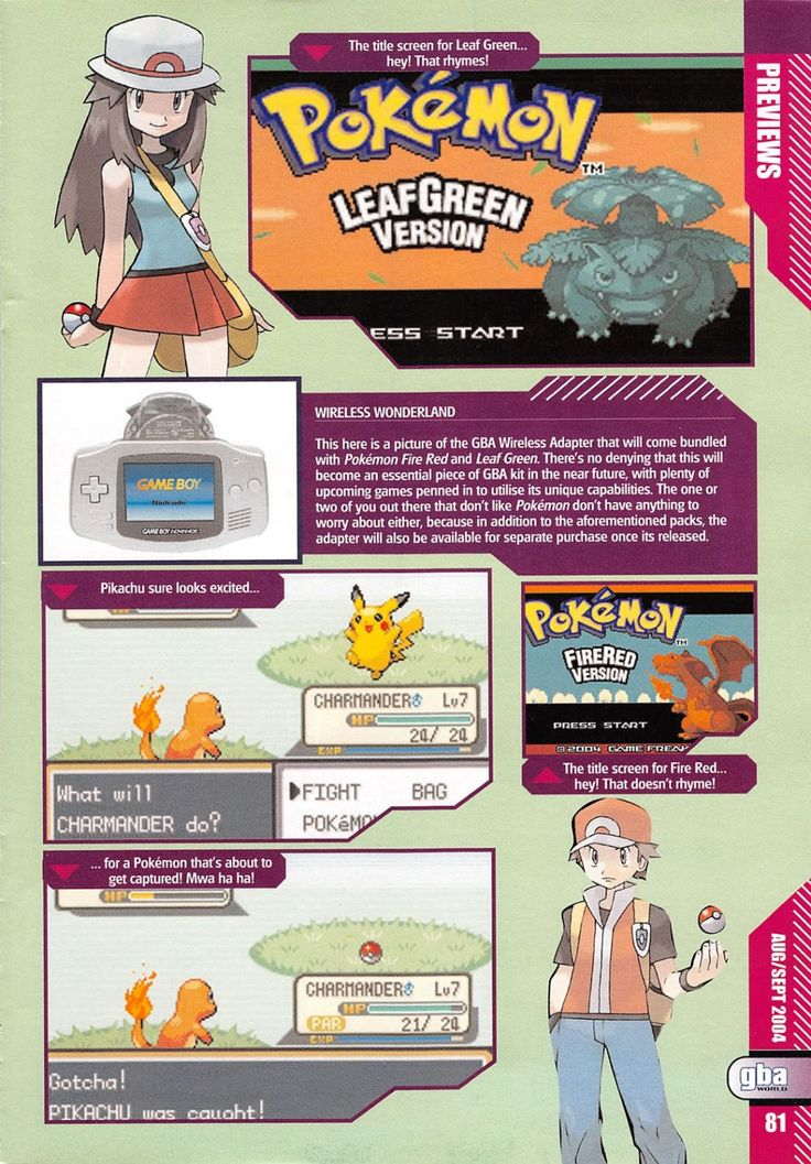 A retro preview of #Pokemon FireRed and LeafGreen from GBA World Magazine Issue 10. Page 2 of 2. More retro Pokemon stuff @ http://www.pokemondungeon.com/media-downloads/retro-pokemon-magazine-scans