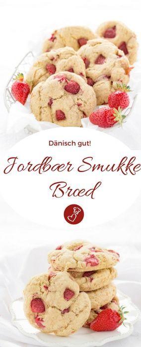 Dänische Rezepte, Erdbeeren Rezepte: Rezept für süßes Brot oder Kuchen von herzelieb. Dieses Gebäck wird mit Schmanz gegessen und es ist das ideale Sommer-Frühstück. #erdbeeren #kuchen #dänemark