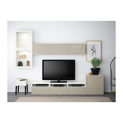 BESTÅ TV storage combination/glass doors - white/Selsviken high-gloss/beige clear glass, drawer runner, soft-closing - IKEA