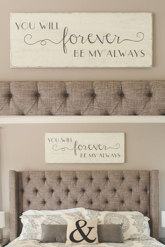 """Bedroom wall decor // You will forever be my always // wood signs// large bedroom sign // 48"""" x 18.5"""""""