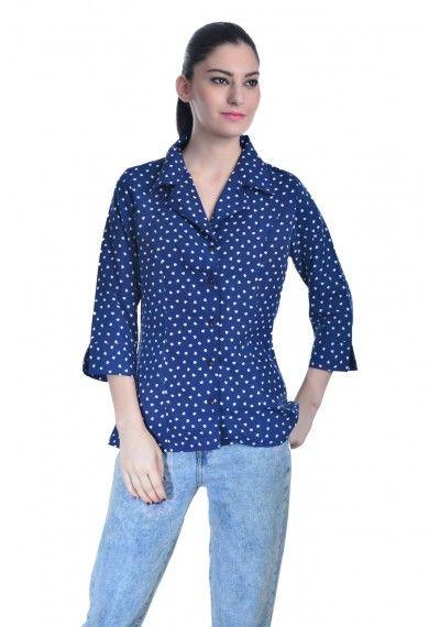 Blue printed office shirt