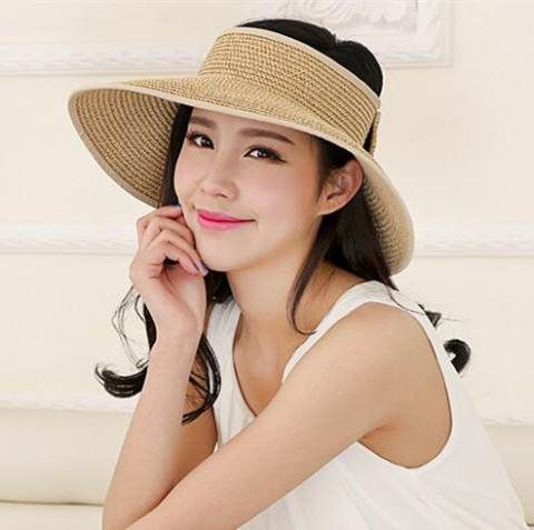 Wide brim visor hat with bow for women straw uv sun protection hats ... 60c12e55405