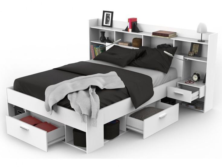 Lit + tête de lit KYLIAN avec rangements et tiroirs - modulable 140x190cm ou 140x200 cm - Blanc ...