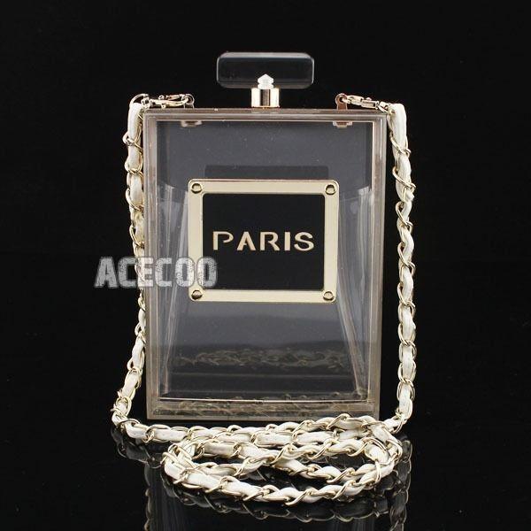 Fashion Lady Paris Perfume Bottle Clear Acrylic Clutch Evening Bag Handbag Purse #NA #Clutch