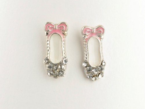 Pink Ballet Shoe Earrings - Sterling Silver with Sparkly Crystals