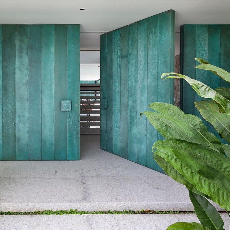 wooden turquoise doors